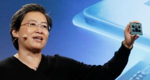 AMD CEO Lisa Su displays a prototype 7nm 64-core Epyc CPU